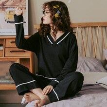 BZEL V ausschnitt Nachtwäsche Für Frauen Schwarz Pyjamas Sets Nette Bogen Nighty Lange Ärmeln Lange Pfannen Pijamas Pyjamas Baumwolle Casual Homewear