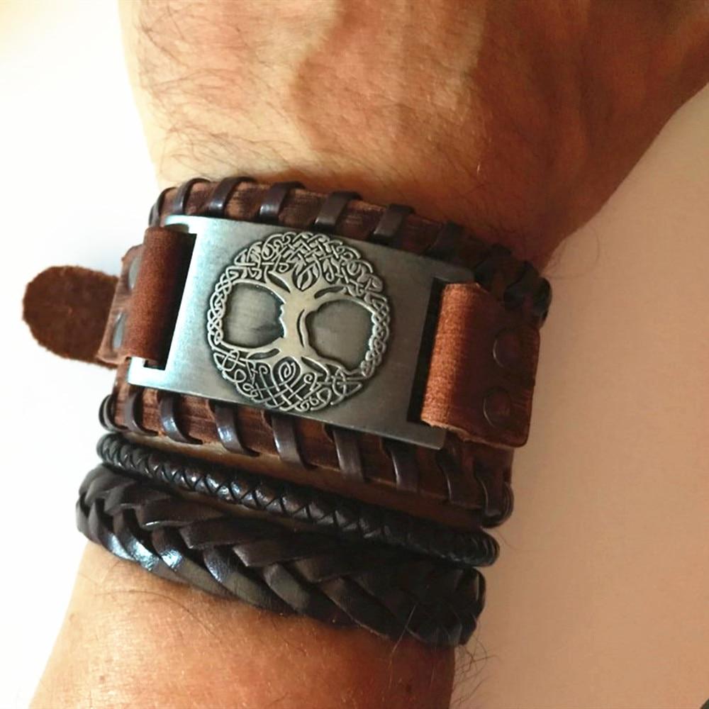 Skyrim Viking Tree of Life Vintage Wrap Wicca Metal Leather Bracelet Amulet Adjustable Cuff Bracelet Vintage Jewelry Men