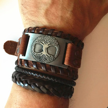 Skyrim vikingo Árbol de la vida Vintage Wrap Wicca Metal pulsera de cuero amuleto ajustable brazalete Vintage joyería hombres
