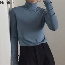 Neploe 2021 nuevo Otoño Invierno manga larga delgada T camisa mujeres Fondo medio cuello alto sólido camisetas Simple Poleras De Mujer De Moda 46536