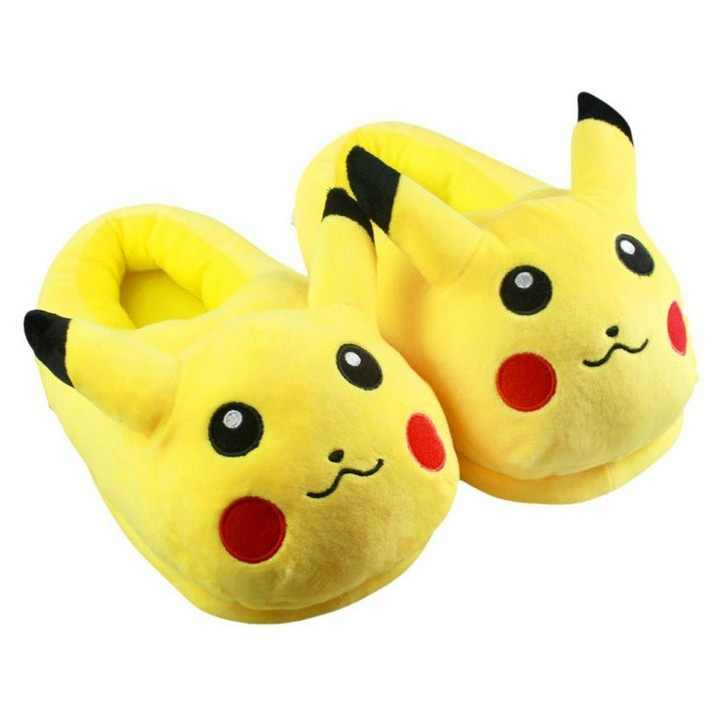Plush home animal slippers warm cotton shoes anime Pikachu Cosplay shoes Women /Men lovers slippers adult plush size.