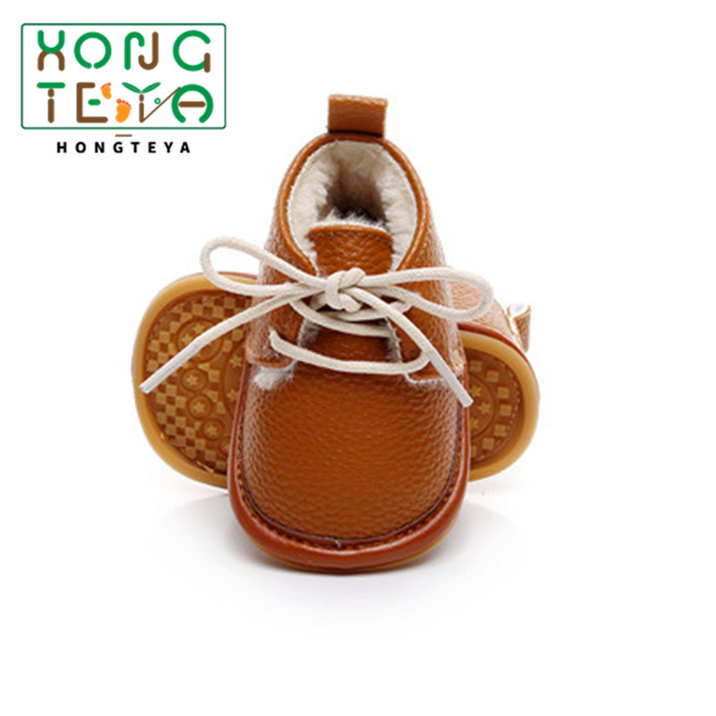 2019 Winter Newborn Baby Boot Print Flower PU Leather Crib Moccasins Footwear Infant Shoes First Walkers Fleece Warm Snow Boots