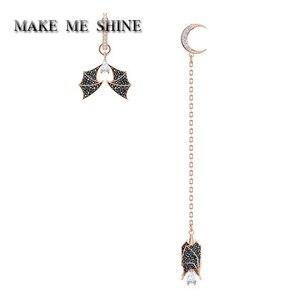 Image 1 - Высокое качество SWA женщин «летучая мышь» женские серьги Асимметричная Луна длинная серьга с украшением в виде кристаллов Ювелирные изделия для девочек Рождественский подарок Вечерние