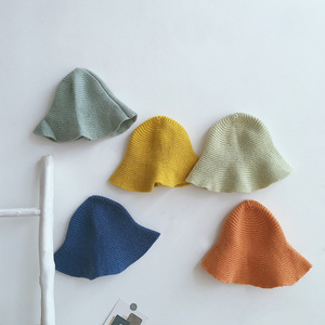 Autumn Winter baby girls solid color knitted bucket hat kids children thin casual caps
