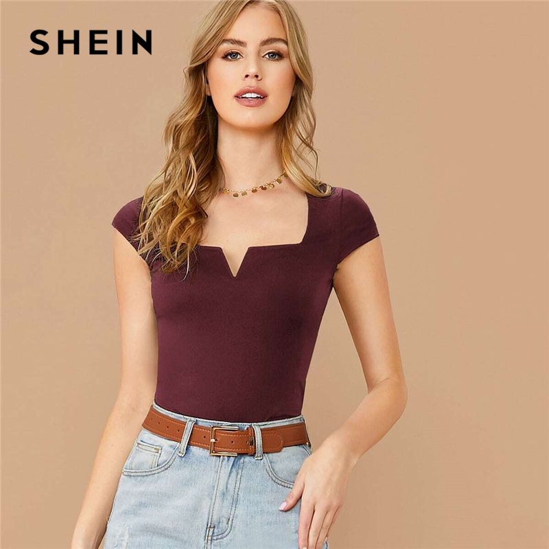 SHEIN Notched Neckline Solid Slim Tee Women 2020 Summer Elegant Office Lady T-Shirt Cap Sleeve Stretchy Skinny Tshirts