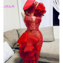 Homecoming Dress Short Tulle Lace Red Flower 3D Knee-Length One-Shoulder Prom-Gowns Ruffles