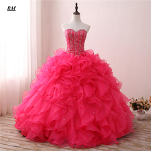 Luxury Hot Pink Quinceanera Dresses 2019 Ball Gown Sweetheart Beaded Sweet 16 Floor-length Formal Prom Party Dress BM23