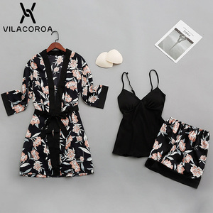Image 5 - Womens Pajamas Robe Suit Thin Section Printed Robe Sashes Solid Color Camis Ladies Elegant Sleepwear Camicia Da Notte Donna
