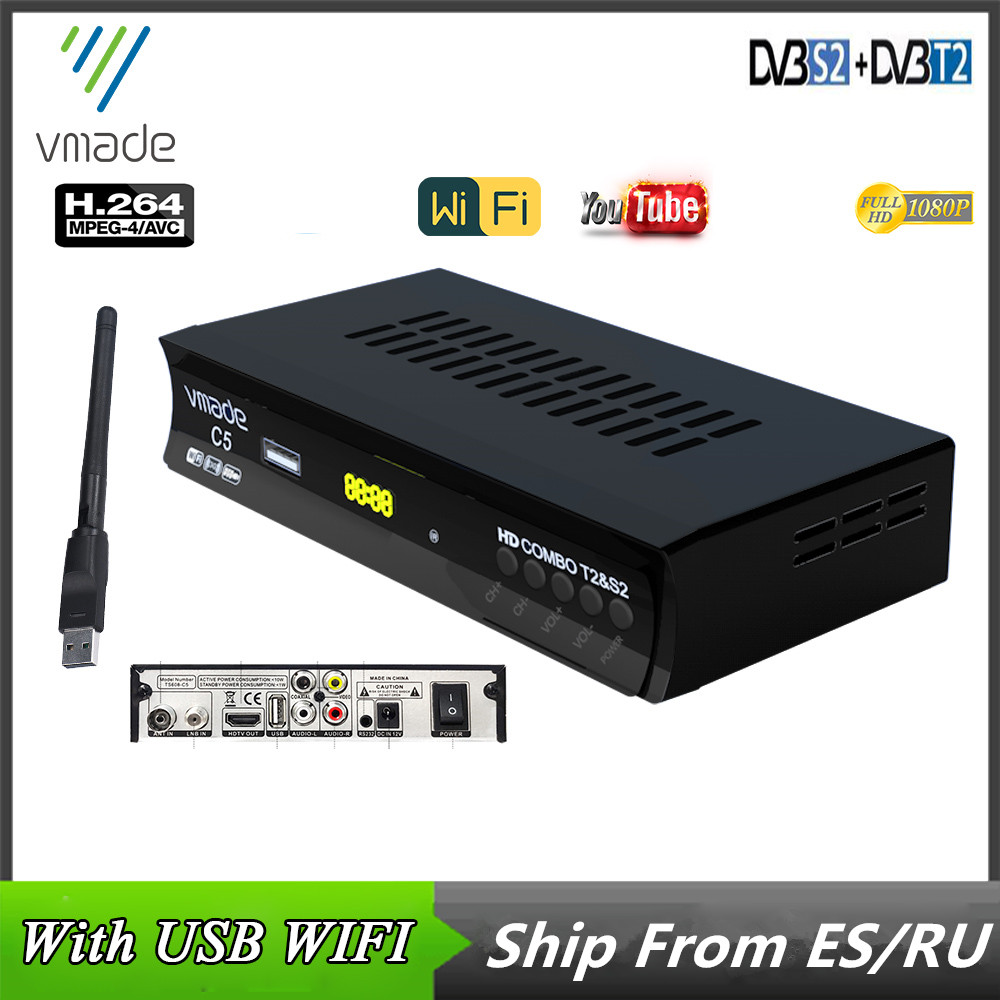 DVB-T2 DVB-S2 цифровая ТВ-приставка ТВ box спутниковый ресивер Combo DVB T2 S2 Поддержка Youtube USB WI-FI Европы DVB T H.264 декодер