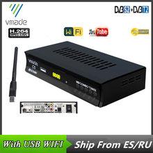 DVB-T2 DVB-S2 conjunto digital caixa de tv caixa superior receptor satélite combinado dvb t2 s2 suporte youtube usb wifi europa dvb t h.264 decodificador