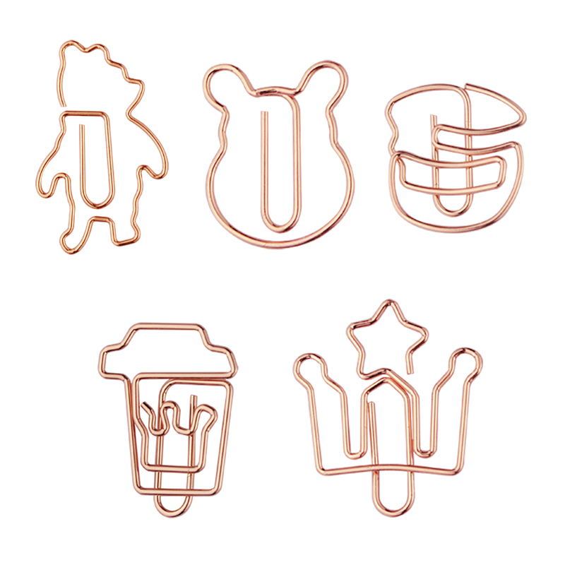 Rose Gold Hamburger Paper Clip Safe Pin Creative Paper Clips Office Accessories Paperclips Office Supplies Rose Gold Stationery