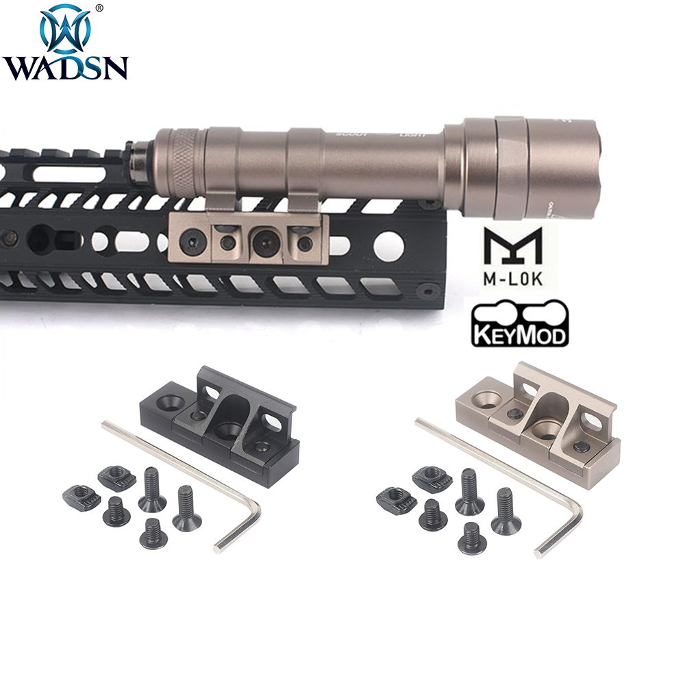 WADSN Airsoft M-lok Keymod Rollover M Lok Flashlight Rail Mount For Surefir M300 M600 M600C M600B Hunting Weapon Scout Light