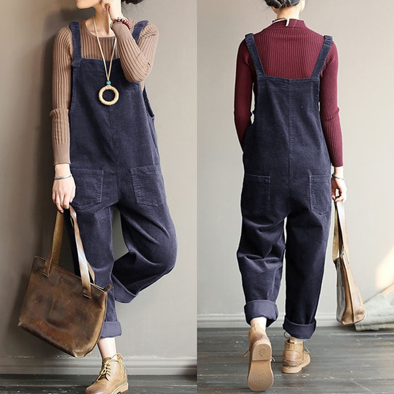 Kaftan Corduroy Jumpsuits Women's Overalls Casual Rompers 2020 ZANZEA Spring Suspender Button Playsuits Female Solid Pant Turnip