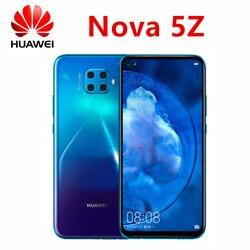 Téléphone portable d'origine HUAWEI nova 5z 4000mAh kirin 810 arrière 48.0 MP AI 4 photos avant 32 millions portrait super nuit vue Google