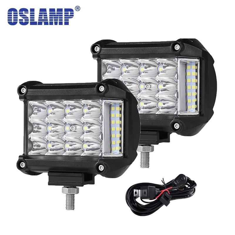 Oslamp 4 polegada 57W Lado Luminoso Levou Carro Luz de Trabalho de Condução Da Lâmpada Offroad Luz Bar Combo Para 4x4 caminhões Veículos Off-road Levou Bar