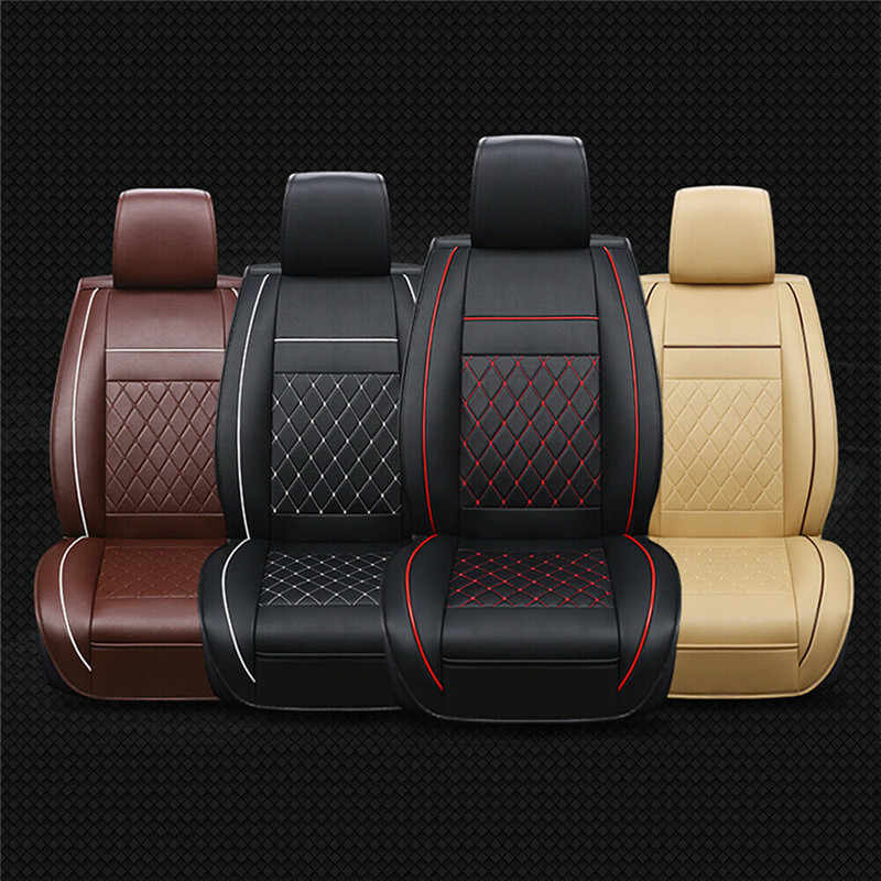 New Universal Pu Leather Car Seat Cover Cushions Front Black With