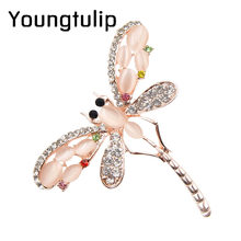 Young Tulip Opal and Rhinestone Dragonfly shape Brooches for Women Cute Insect Brooch Pins Dress Accessories Jewelry New Arrival(China)