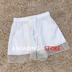 Женские повседневные шорты из органзы на весну и лето, свободные широкие шорты высокого качества с широкими штанинами