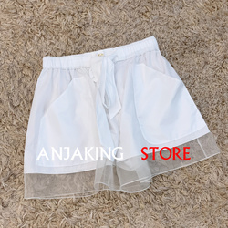 Spring summer Women's New casual wild organza stitching casual shorts loose wide leg  high quality wide leg shorts