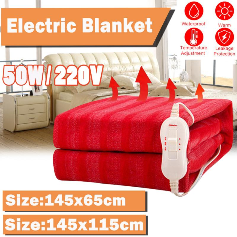 145x65cm/145x115cm Winter Electric Heated Blanket Rapid Heating With 3 Gear Control 110V/220V Warmer Electric Blanket Mattress