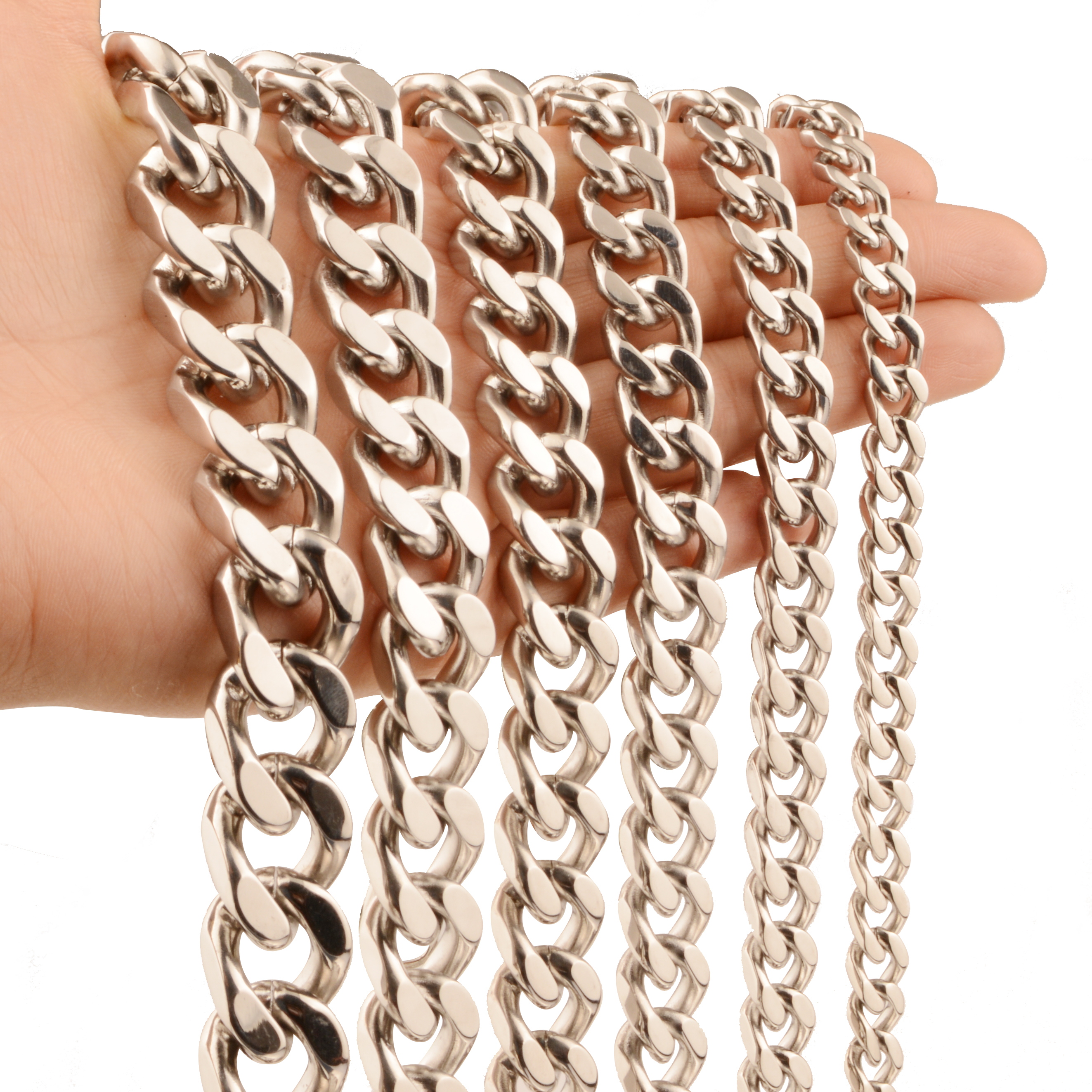 7/9/11/13/15/17mm Hip Hop Jewelry Men Chain Silver Color Stainless Steel Cuban Necklace for Curb Link