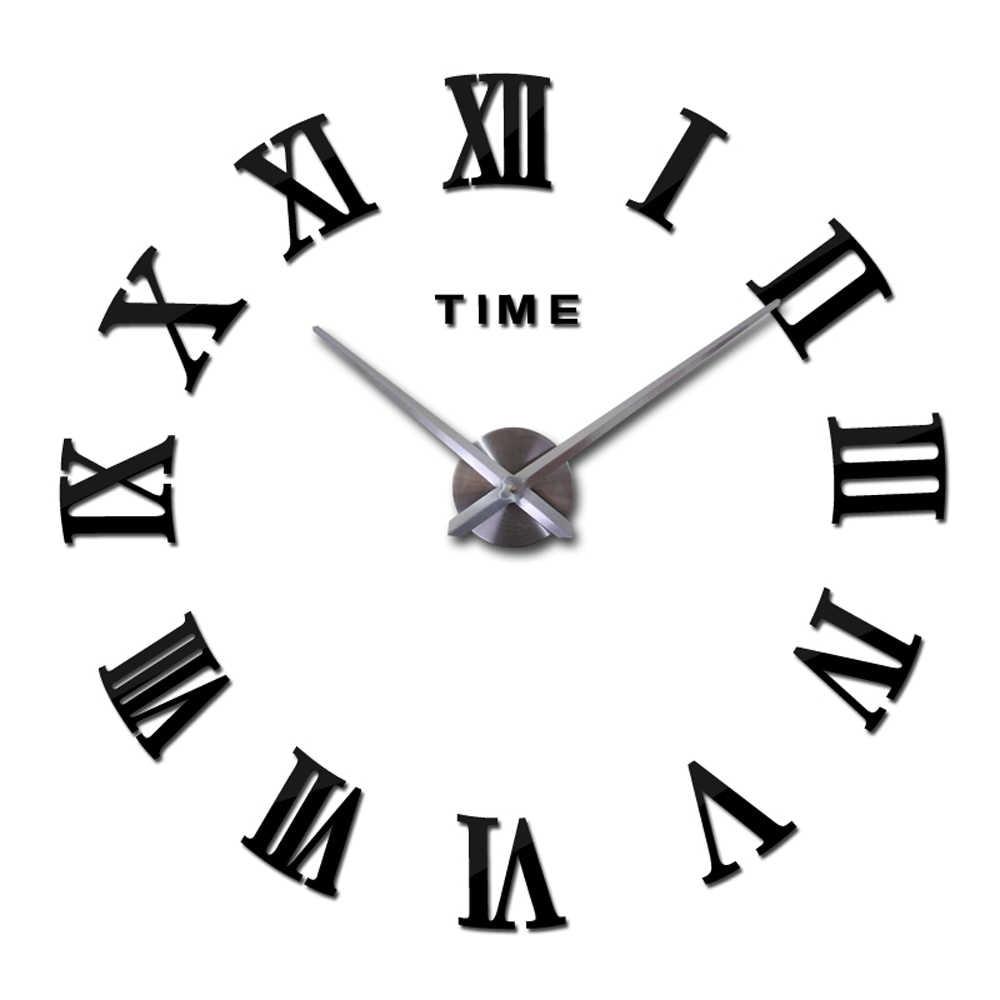בית תפאורה גדול רומי מראה אופנה מודרני קוורץ סלון שעוני קיר DIY שעון 3D אקריליק מראה קיר שעון
