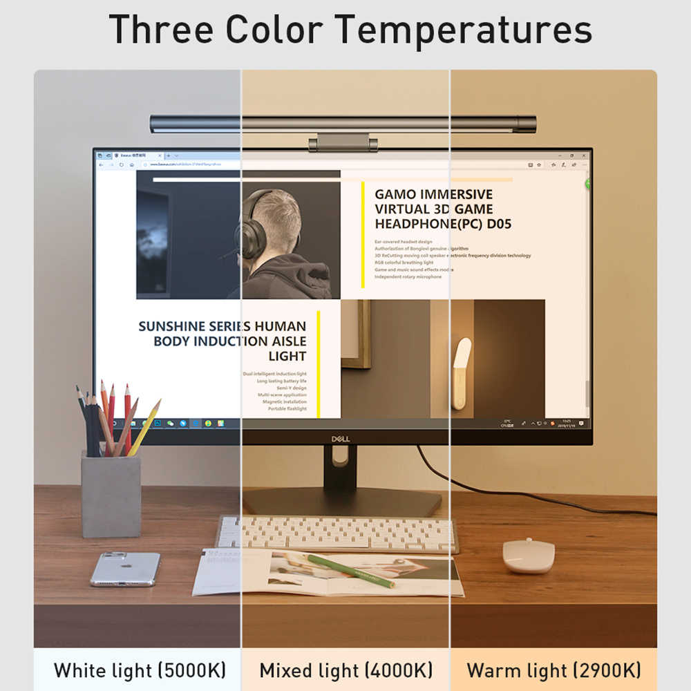 Lámpara de lectura de escritorio alimentada por USB, 5v, pantalla Led ajustable para ordenador, 5W, protección ocular duradera, Monitor de aluminio que no parpadea para oficina