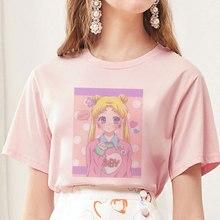 Damen T-Shirt Shirt Kurzarm Kawaii Cartoon Obst Figuren Aufdruck Shirts Weiß XXL