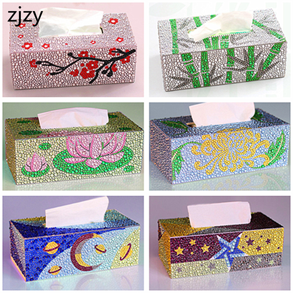 2020 Diamond Painting 5d Diy Roll Tissue Box Wood Storage Box