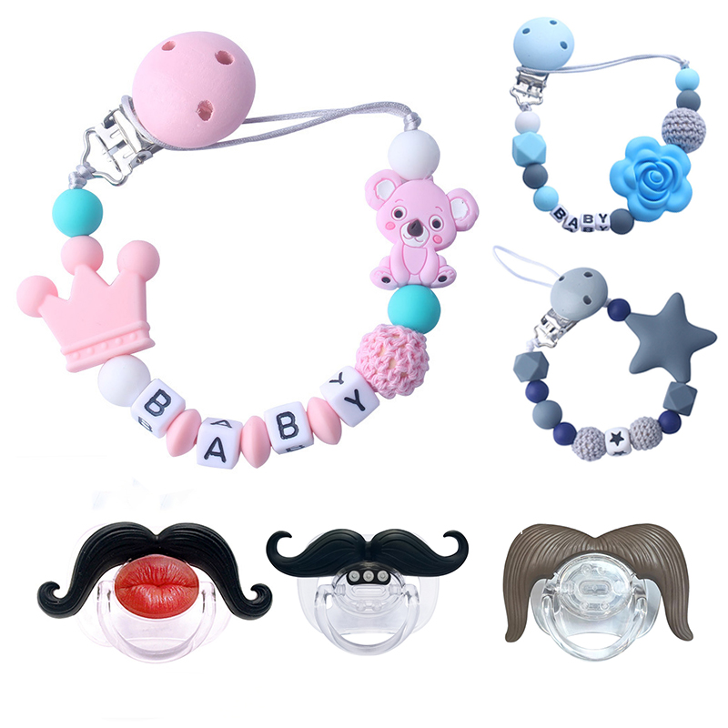Safe Teething Chain For Infant Pacifier Clips Chains Cartoon Animals Teething Beads Food Grade Silicone Pacifier Holder Clips
