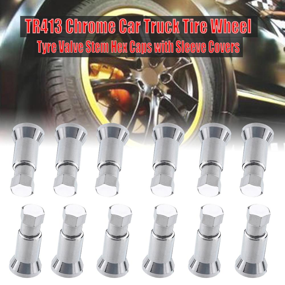 12pcs/set TR413 Chrome Car Tire Wheel Tyre Valve Stem Hex Cap & Sleeve Cover Kit Left Right Front Rear
