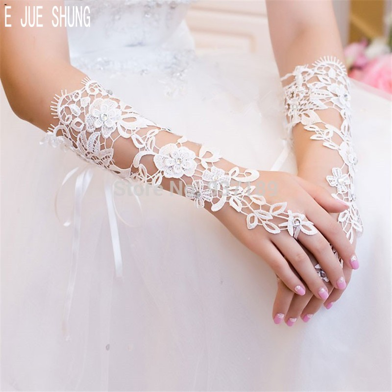 E JUE SHUNG  White Bridal Gloves Elbow Length Long Lace Appliqued Fingerless Crystal Beaded WomanWedding Gloves