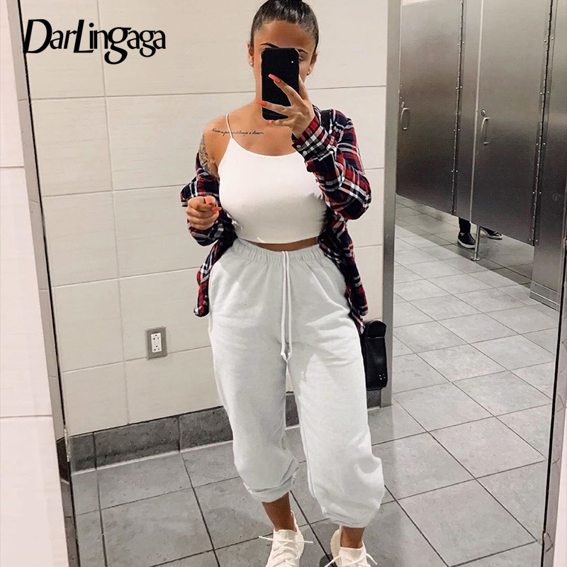 Darlingaga Streetwear Solid Loose Sweatpants High Waist Pants Women Trousers Casual Baggy Sweat Pants Capris Bottom Pantalones