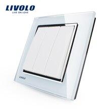 Livolo החדש לדחוף כפתור מתג, זכוכית קריסטל לוח, קיר אור 3 כנופיית 1 דרך לדחוף כפתור מתג VL W2K3 11/12/13