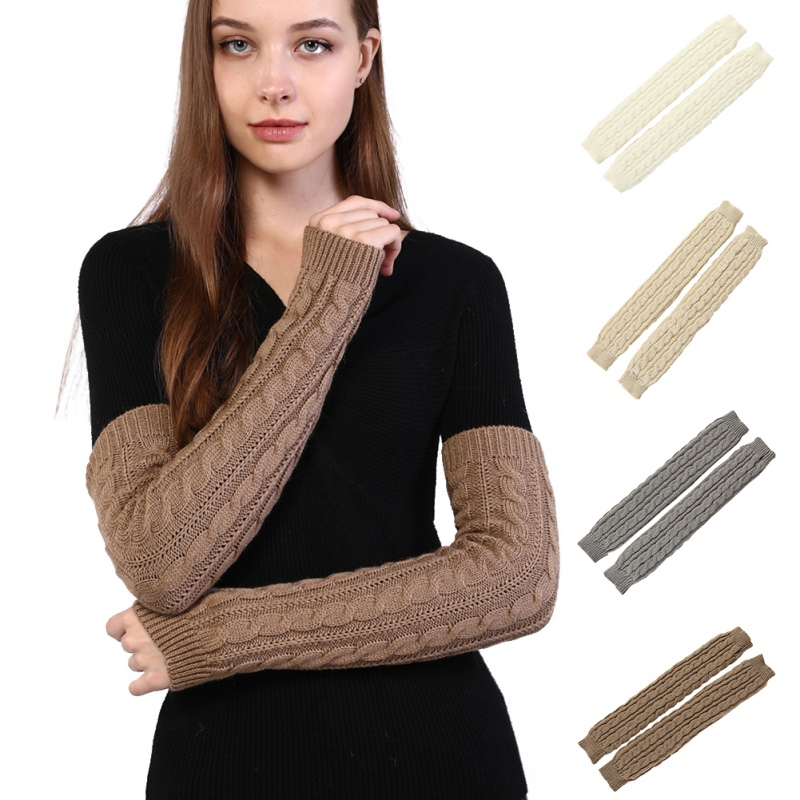 Winter Knit Gloves Arm Wrist Women Sleeve Hand Warmer Girls Rhombus Long Half Mittens Fingerless Gloves Female