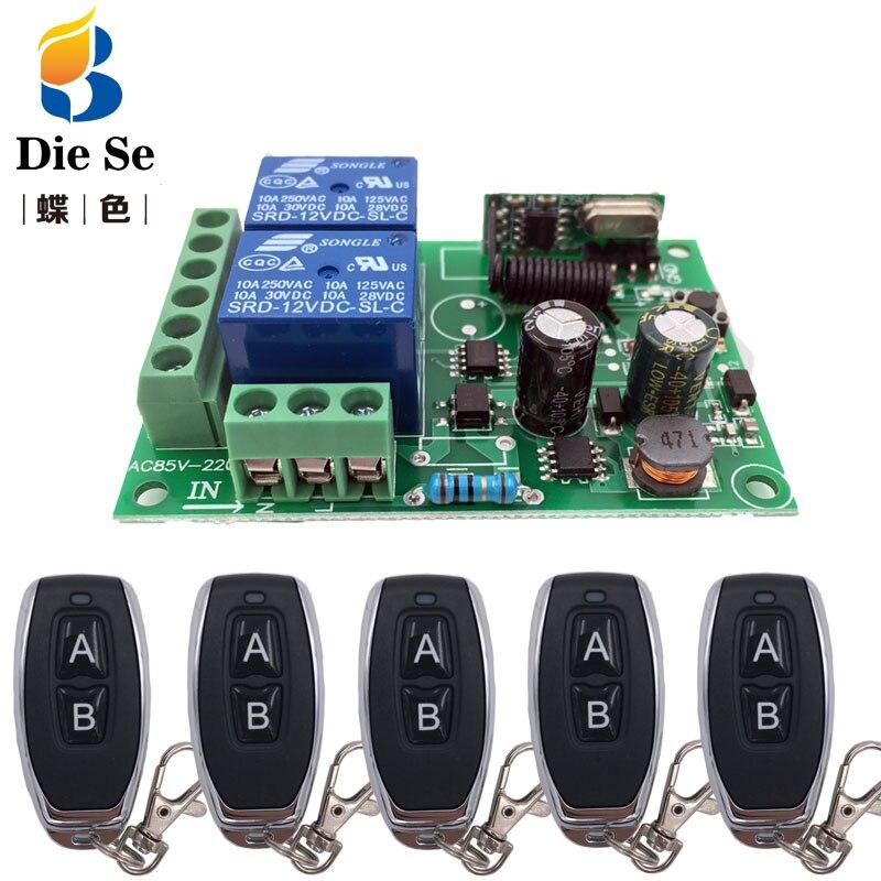 433 mhz universal controle remoto sem fio ac220v 2ch rf relé receptor e transmissor para porta de garagem universal e controle portão