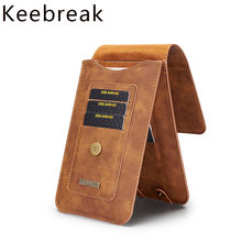 "Keebreak Real Leather Men Slim Waist Bag Cowhide Small Hook Bum Bag Waist Belt Pack Cigarette Case Card Wallet 6.5"" Phone Pouch(China)"