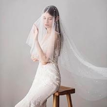 White Ivory Wedding Veil Beaded Wedding Dress Veil Bridal Veil Royal Pearl Veils for Bride one Layer Wedding Veil Bridal short