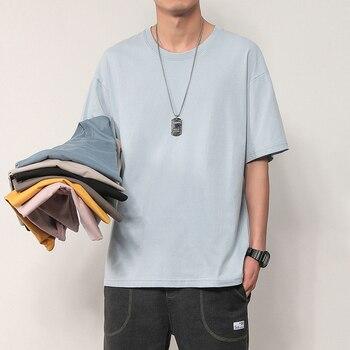 Mode Männer T-shirts Männer Top Tees Oversize Sommer T-shirt Lässig Drop Schulter Hülse Baumwolle Solide Grund Plain T-Shirt Frauen 4XL