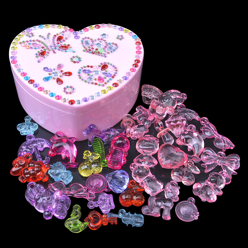 Children DIY Crystal Gemstone Toy Animal Figure Large Diamond GIRL'S Plastic Bead Play House Pendant Fashion