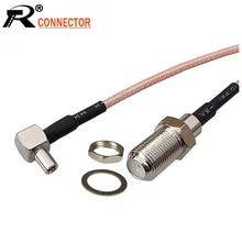 100 unids/lote F conector hembra a TS9 macho ángulo recto Cable de extensión Cable Pigtail RG316 15 CM/50 CM/100 CM