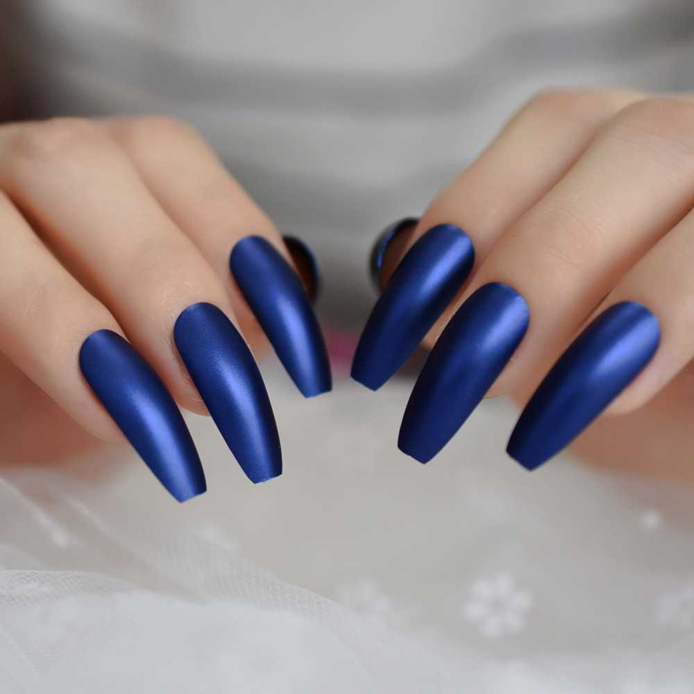 Professional Dark Royal Blue Coffin Nails Extra Long Matte Press On Ballerina False Nails Frosted Sharp Fake Fingers Party Nails Aliexpress