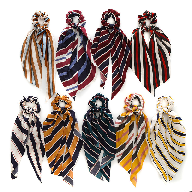 Hot New Summer Women Ponytail Scarf Elastic Long Hair Rope Cute Hair Bow Ties Scrunchies Hair Bands Stripe Print Ribbon Hairband