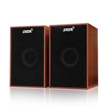 SADA bilgisayar hoparlörleri USB kablolu kombinasyonu Soundbox süper bas Mini ahşap PC hoparlör dizüstü akıllı telefon için MP3 3.5mm AUX IN
