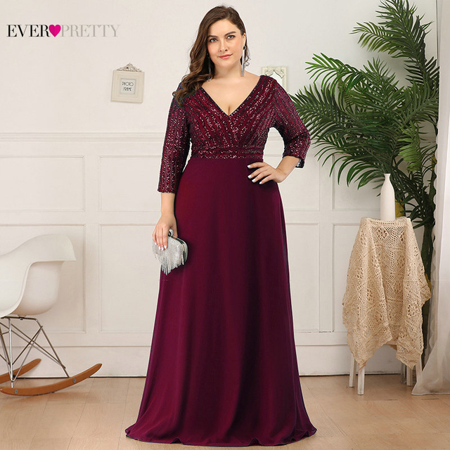 Plus Size Sequined Evening Dresses Ever Pretty 3/4 Sleeve A-Line Double V-Neck Elegant Sparkle Party Gowns Abiye Gece Elbisesi 5