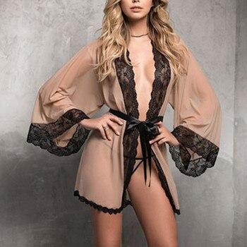 Mesh Lace Robes For Women Large Plus Size Sleepwear Solid Pajamas see through Robe Sexy lingerie Set Nightgown Bata de mujer балетки bata bata ba060aweala4