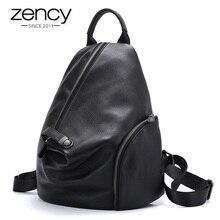 Zency 100% 여성을위한 정품 가죽 데일리 캐주얼 배낭 클래식 블랙 학생의 Schoolbag 빈티지 레이디 배낭 고품질