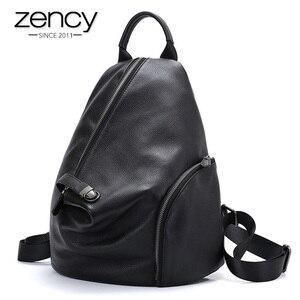 Image 1 - Zency 100% prawdziwej skóry codziennie plecak na co dzień dla kobiet klasyczny czarny uczeń tornister rocznika pani wysokiej jakości