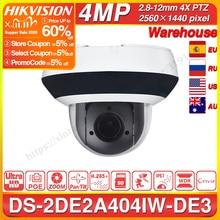 Hikvision PTZ IP Camera DS 2DE2A404IW DE3 4MP 4X Zoom Network POE H.265 IK10 ROI WDR DNR Dome CCTV Camera Original or OEM