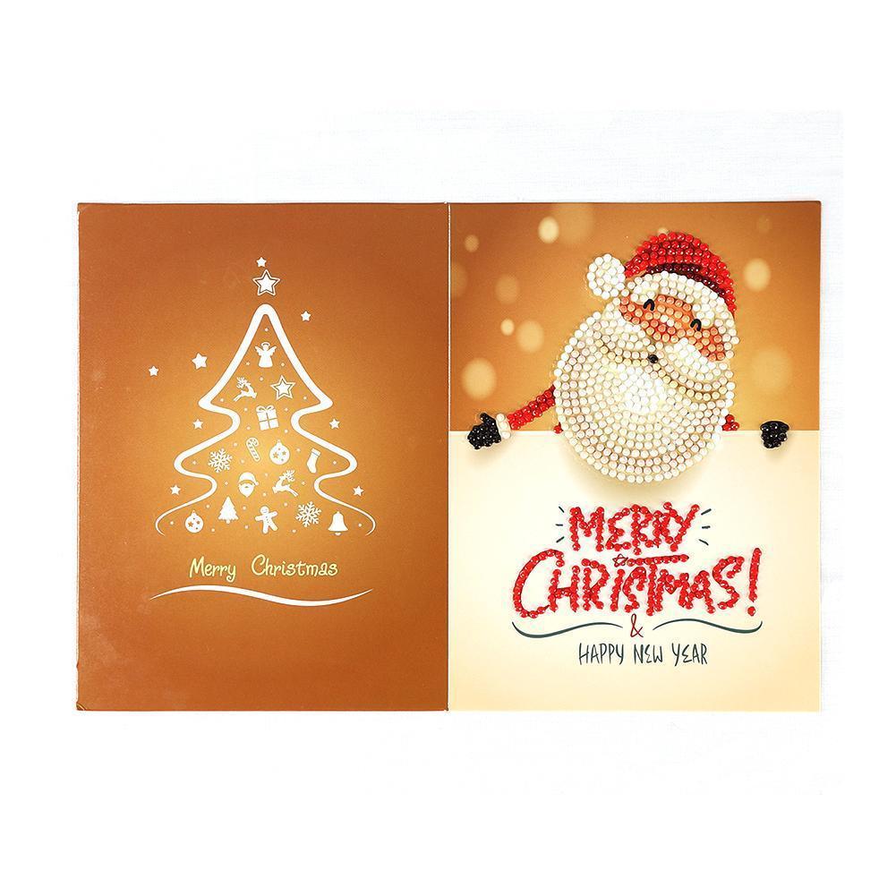 5D DIY Diamond Painting Greeting Card Special-shaped Santa Postcards Xmas Gift Craft S Christmas Card Claus Festival Birthd B8T8